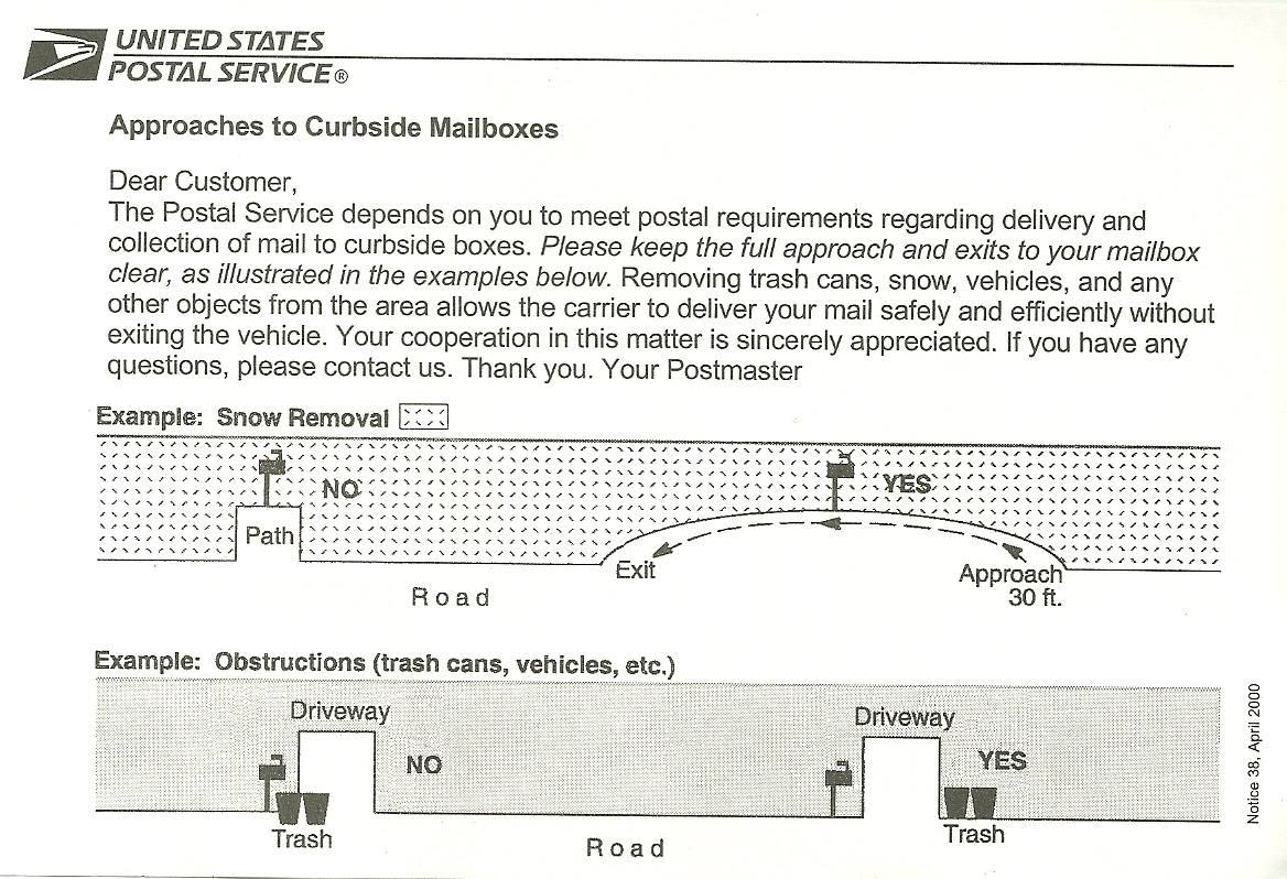 Notice 38 – Approach to curbside mailboxes | Ruralinfo.net ...